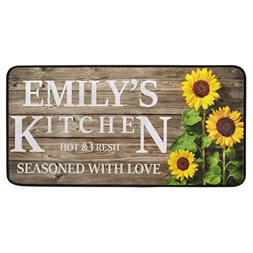 Custom Sunflower Kitchen Rug Floor Mat Washable Customizable...