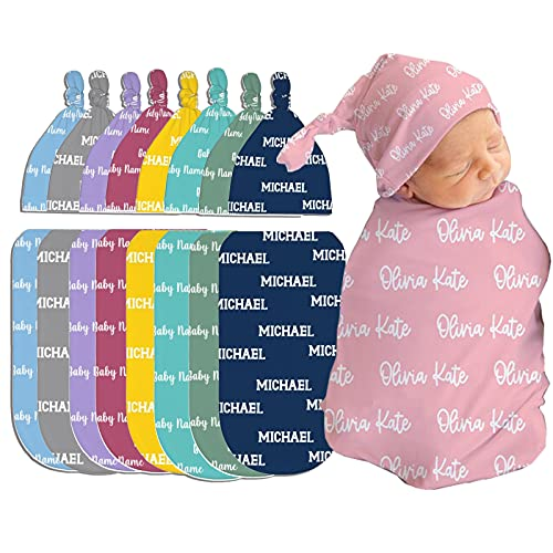 Personalized Baby Blankets and Hat with Name Soft Custom...