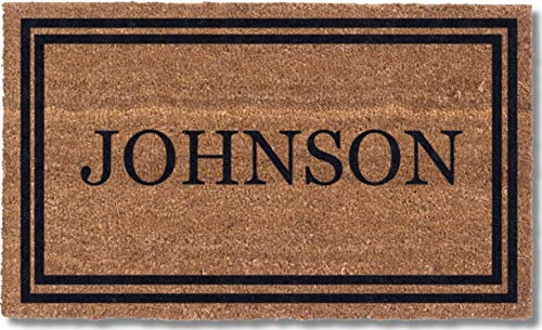 Coco Mats 'N More Black Double Bordered Personalized Coco...