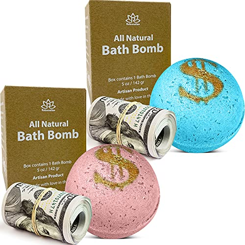 2 Bath Bombs Set with Cash Surprise Inside - Real Money Up...