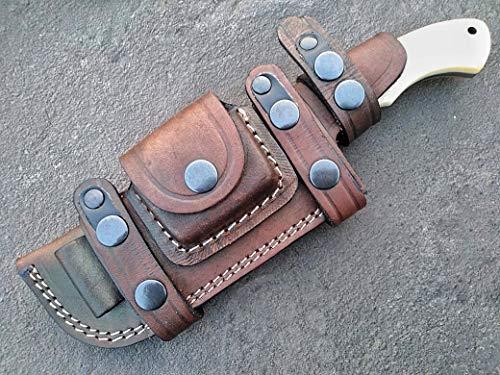 Ottoza Handmade Damascus Tracker Knife with Bone Handle -...