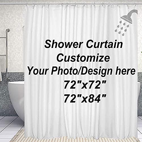 DJSBZ Custom Shower Curtain with Hooks Waterproof, Upload...