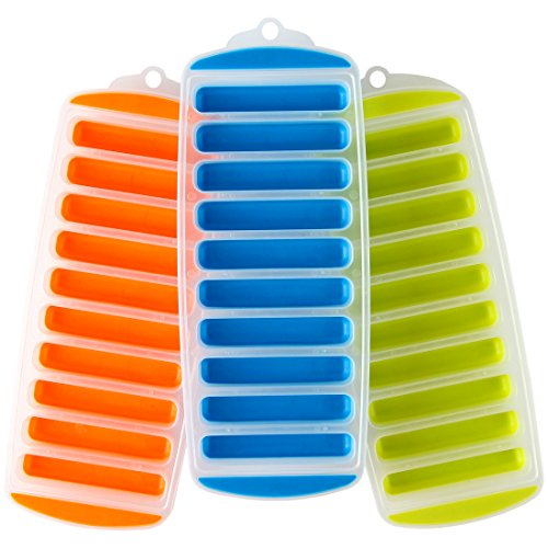 Lily's Home Silicone Narrow Ice Stick Cube Trays with Easy...