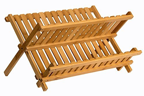 Sagler wooden dish rack plate rack Collapsible Compact dish...