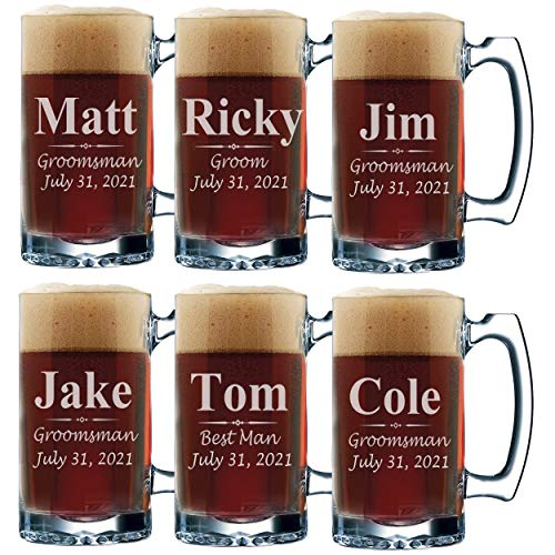 Set of 3, Set of 5 Set of 7 and more Personalized Groomsmen...