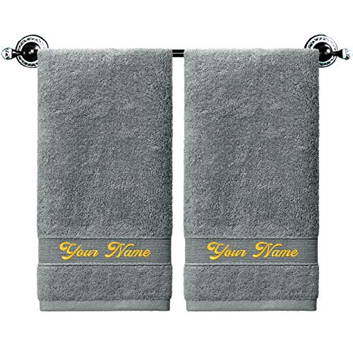 Custom Towel Set of 2, Monogrammed Hand Towels ,...