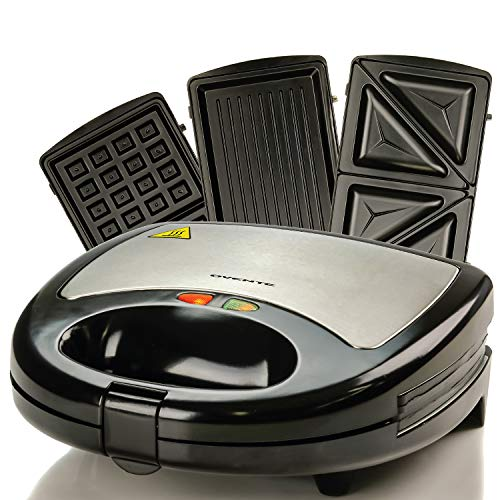 Ovente Electric Indoor Sandwich Grill Waffle Maker Set with...