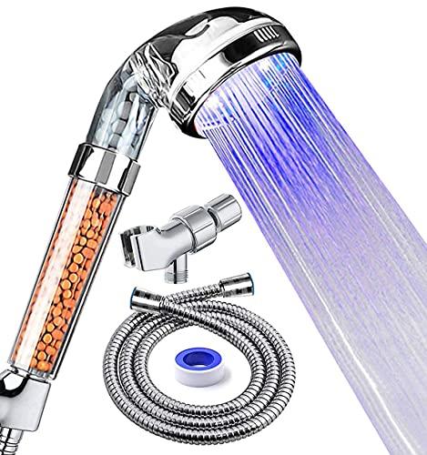 PRUGNA LED Shower Head with Hose and Shower Arm Bracket,...