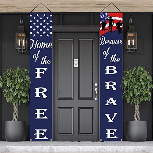 American Flag Patriotic Soldier Porch Sign Banners,Patriotic...