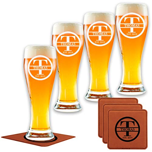 Personalized Pilsner Glasses Set of 4 - Premium Made in USA...