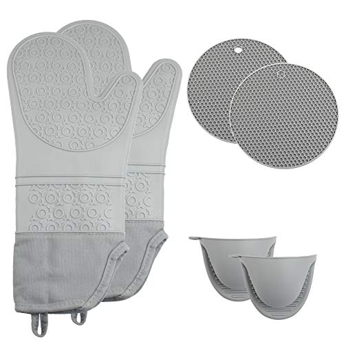 Silicone Oven Mitts Kit, Extra Long Non-Slip Heat Resistant...