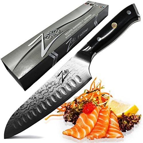 Zelite Infinity Santoku Knife 7 Inch - Alpha-Royal Series -...