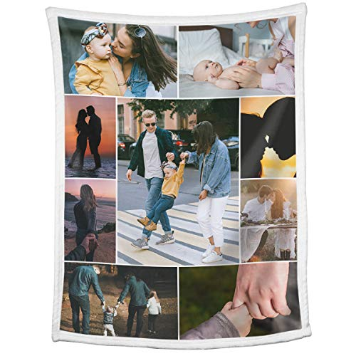 Custom Blankets with Photos Collage Personalized Throw...