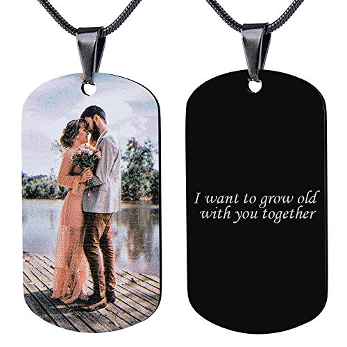 Bivei Custom Photo Dog Tags Heart Necklace Personalized Gift...