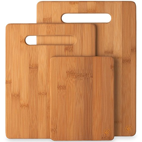 3-Piece Bamboo Cutting Board Set - Wooden Kitchen Boards for...
