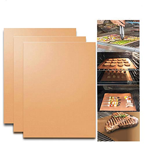 KITHOM Grill Mats Set of 3, Copper BBQ Grill and Baking...