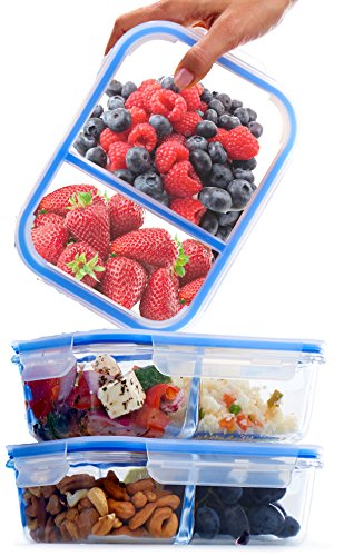 Glass Meal Prep Containers 2 Compartment BPA Free Leakproof...