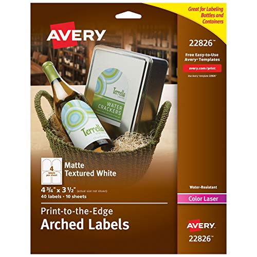 Avery Arched Wine Labels with Sure Feed for Laser Printers,...