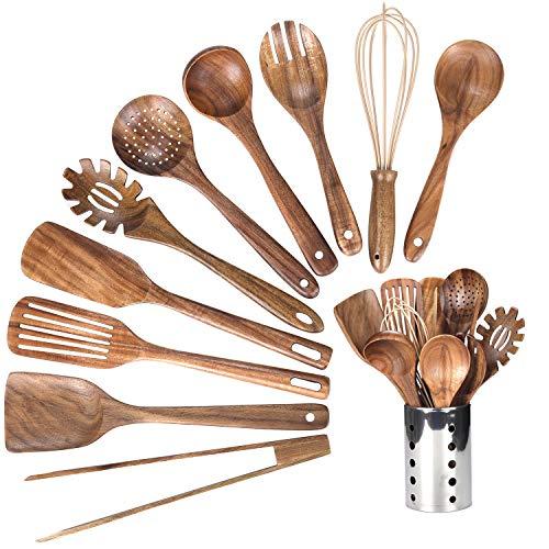 Kitchen Wooden Utensils for Cooking, Wood Utensil Natural...