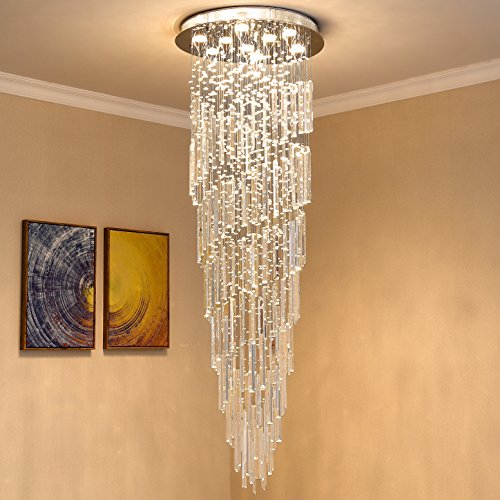 Saint Mossi 9-Lights K9 Crystal Chandelier Raindrop...