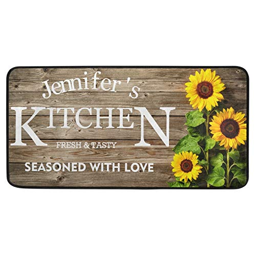Custom Kitchen Rug Sunflower Wooden Stripe Summer 39 x 20...