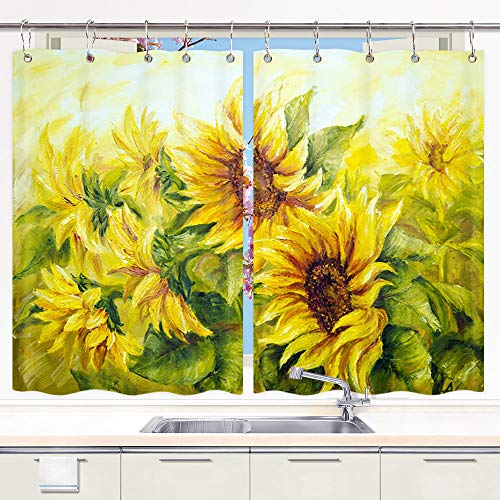 JAWO Oil Painting Sunflower Kitchen Curtains, Watercolor...