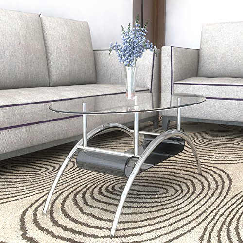 Ryan Rove Cleveland Oval Glass Coffee Table - Modern Home...
