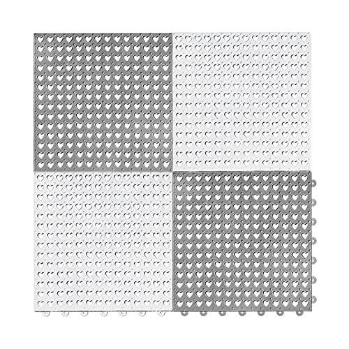 TCBWFY Rubber Floor Mats Modular Interlocking 4pcs 12' x 12'...