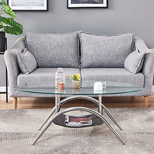 Oval Coffee Table,BELIFEGLORY Round Oval Glass Top Coffee...