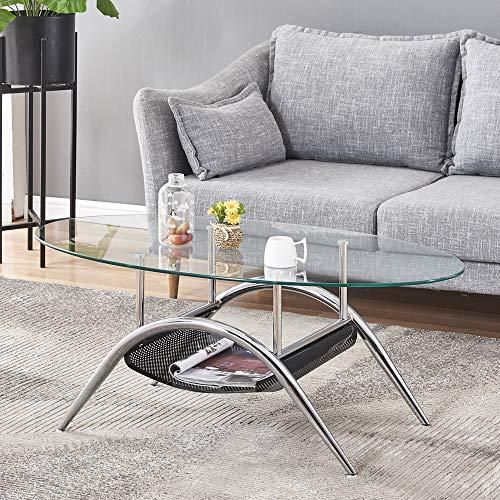 Oval Coffee Table,LES AILES DE LA VOIX Round Oval Glass Top...