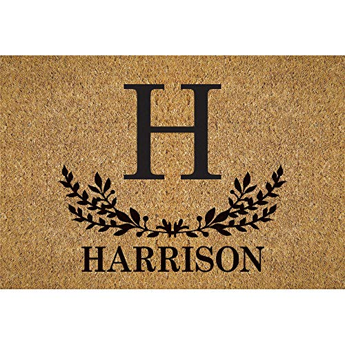 Initial and Name Personalized Doormat - Brown Custom Entry...